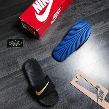 Hàng Chính Hãng Nike Kawa Slide Black/Blue/LOGO Gold 2019**