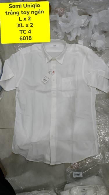 Hàng Chính Hãng Áo Sơ Mi Uniqlo Short -Sleeve White 2019**