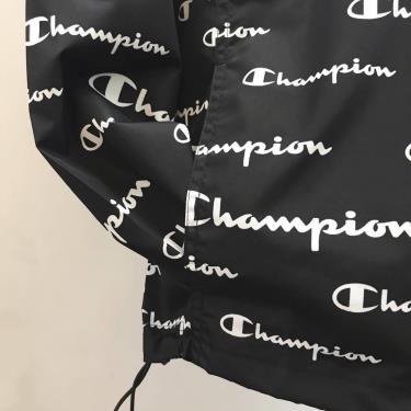 Hàng Chính Hãng Áo Khoác Champion Packable Jacket Black All Over Logo 2020**