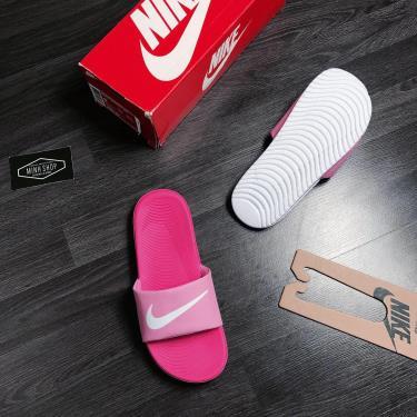 Hàng Chính Hãng Nike Kawa Slide Pink/White LOGO 2019**